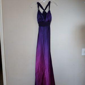 Camille La Vie Ombre Purple Jeweled Halter Dress 2